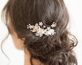 Wedding Hair Pin, Gold Bridal Hair Pin, Flower Hair Pin, Pearl Crystal Hair Pin, Wedding Hair Accessory