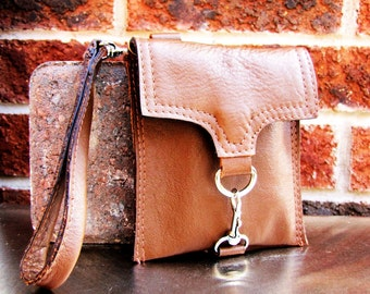 Small leather wristlet, dark tan leather case, small leather case, Custom to fit iPhone 6, 6s, 7, 8 and X