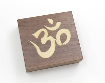 Aum, or Om, Buddhist Mantra Symbol - Solid Walnut Shelf Sitter. Add some Zen to Your Home or Studio. Timber Green Woods. Made in the USA.