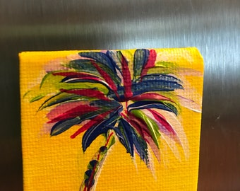 Hand painted fridge magnet/ acrylic canvas refrigerator magnet/ painted magnet/