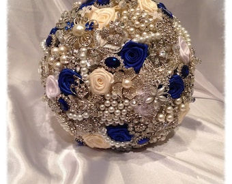 Brooch Bouquet. FULL PRICE on made to order Blue Wedding Heirloom Bridal Broach Bouquet.