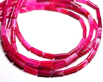 Wire 39cm env - stone beads - pink Agate Tubes 13x4mm 28pc