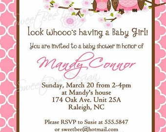 Owl Baby Shower Invitation - Momma and baby girl owl - Custom Printable