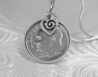 """30th  Wedding Anniversary or 30th Birthday Gift Necklace, 1988 US Dime, 24"""" Silver Chain"""