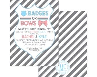Badges or Bows Gender Reveal Invitation\Gender Reveal Invitation\Boy or Girl\Baby Shower Invitation\Police Invitation