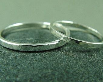 Silver Wedding Ring Set / His and Hers Wedding Bands / Rustic Wedding Rings/ Minimalist Weddings Rings