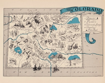 30's Vintage COLORADO Picture Map of Colorado State Cartoon Map Print Gallery Wall Art Library Office Decor Gift for Birthday Wedding