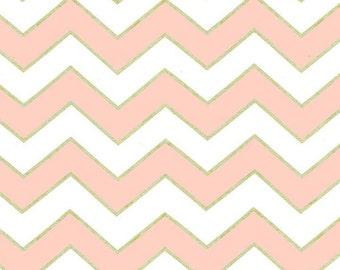 Chic Chevron Pearl Pink Blush fabric | Cotton Quilt fabric | Michael Miller MC5709
