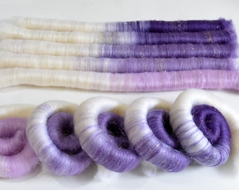 Rolags - 3.9 oz Purple Gradient Hand Blended BFL Rolags for Spinning