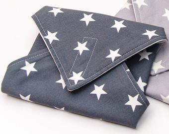 Reusable Sandwich Wrap, Lunch Wrap, Grey Stars kids design, Waterproof, Eco Friendly, Waste Free