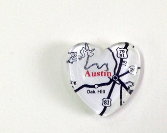 NEW Vintage Map Magnet - Heart Shape - Austin TX