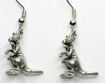 Kangaroo and joey earrings - pewter on surgical steel wires - Nickel free
