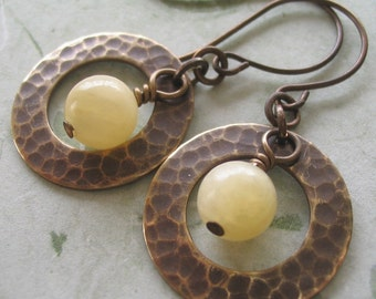 Textured Metal Earrings with Yellow Gemstone, dangle earrings, hoop earrings, Gift for Her Jewelry