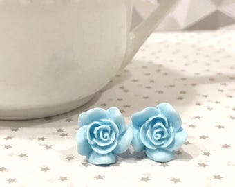 baby blue earrings, rose earrings, large stud earrings, jewelry earrings, blue wedding earrings, something blue for bride, rose gift ideas