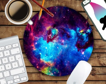 Bold Colors Galaxy Mousepad - Mat - Round - Stars - Clouds - Rainbow Mouse pad Co worker Office Gift - Hipster