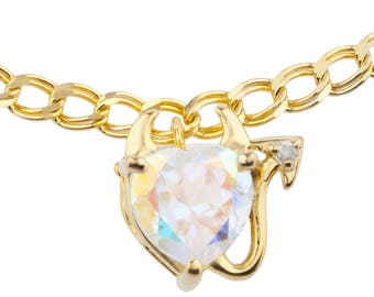 14Kt Yellow Gold Plated Natural Mercury Mist Mystic Topaz & Diamond Devil Heart Bracelet