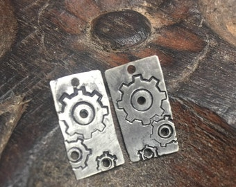 New - Hand stamped German Silver Charms,Gears, PurpleLily Designs