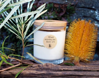 Soy Australian Bush Scented Artisan Glass Container Candle with Wooden Lid Snuffer
