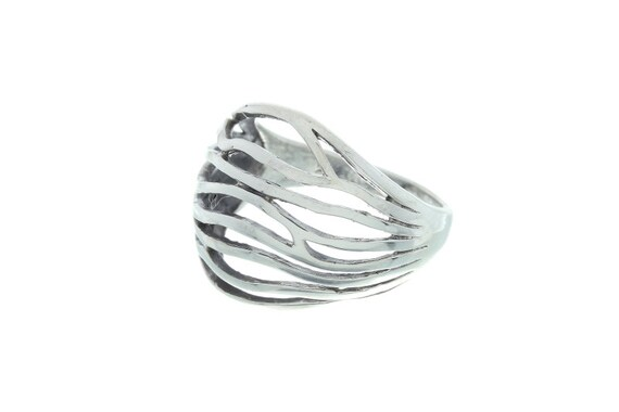 Sterling Silver Wave Ring, Webbed Silver Ring, Mesh Ring, Boho Ring,