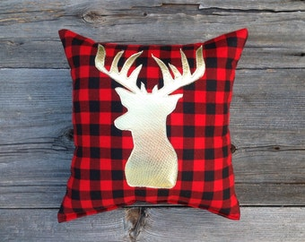 Buffalo Plaid Pillow, Lodge Decor, Deer Pillow, Gold Christmas, Holiday Decor, Gifts Under 30, Antler, Throw Pillow, Cushion, Metallic, red