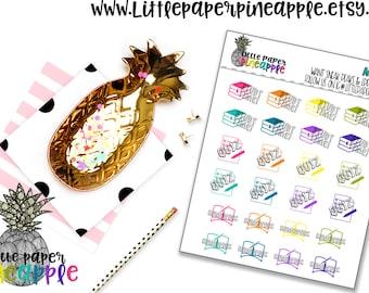 Homework Study Quiz Planner Stickers | Repositionable Matte Stickers | MI13