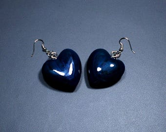 Wooden Heart Earrings Pair Dark Blue Color Silver Tone Wire Polyurethane Glossy Finish