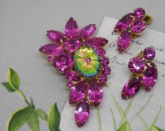 JULIANA HOT Pink Watermelon Pillowcase Stone Brooch and Earrings Set    MAB19