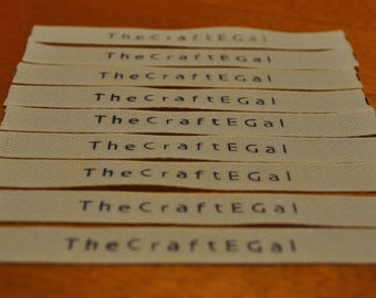 25 Custom Store Name Tags Handstamped Cotton Twill Clothing Labels