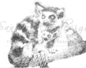 Digital download for your own prints-motif lemurs in sketch style