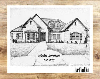 House Portrait Custom House Drawing Pen and Ink drawing of home from photo home Portrait black and white commissioned art Personalized