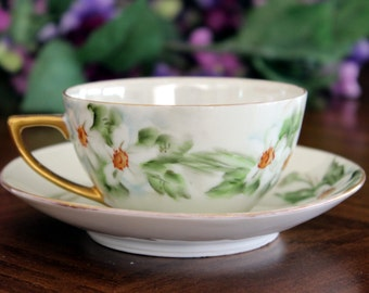 Iridescent Teacup, Cup and Saucer, Pearlized Teacups, Made in Austria 13723