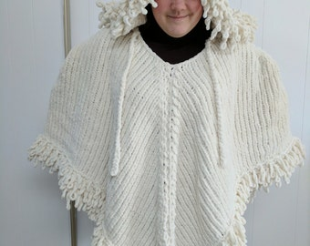 Soft & Luxurious Bohemian Yarn, Roomy and Warm Style Knit Poncho with Hood in CREAMY WHITE size to large to XL