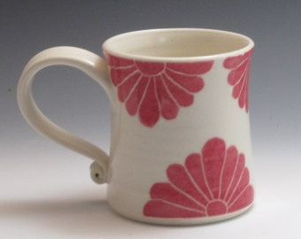 Pottery coffee mug, porcelain cup, handmade with red flower design