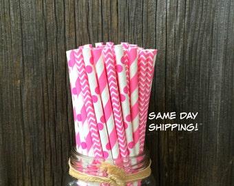 100 Bubblegum Pink Stripe, Dot and Chevron Straw Combo, Birthday, Baby Shower Supply, Free Shipping!