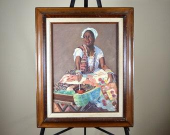 Haiti Woman Painting , African Colorful Fine Art Acrylic