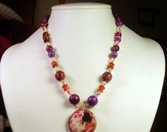 GUINEA PIG Bride & Groom Photo Pendant with Purple and Pink Turquoise and Crystal Beaded Necklace