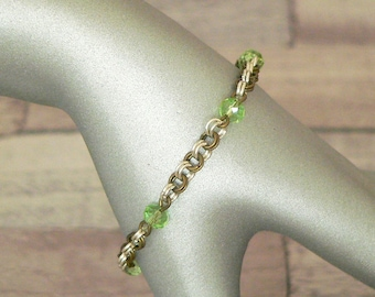Green Chain Mail Beaded Bracelet, Chainmail Bracelet, Chain Mail Bracelet, Beaded Bracelet, Chain Mail Jewellery, Chain Mail Jewelry