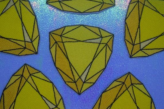 Yellow Jewel Iron on Patch