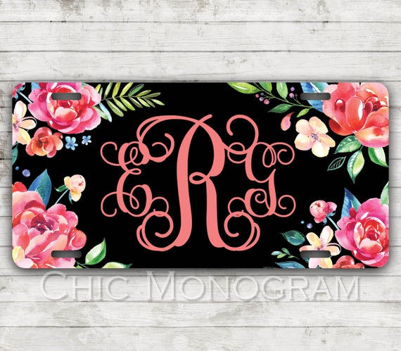 Classy Floral Front License Plate Personalized Monogrammed Black Car Tag Car Accessories Gift Sweet 16 Cute Car Accessories For Women