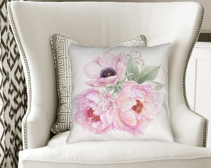 Pink Peony Flower Pillow