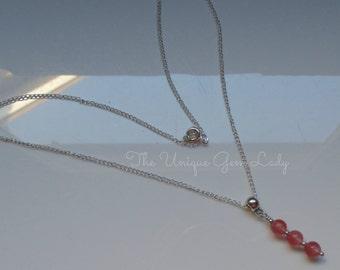 Cherry Quartz 6mm Round Bead Beaded Necklace ~ Gemstone Crystal Healing ~ Handmade Ooak