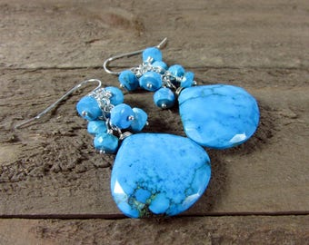 Turquoise Cluster Earrings, Turquoise Dangles, Turquoise Jewelry, Gemstone Earrings