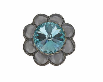 "Unique Decorative Cabinet Knob Turquoise Swarovski Crystal Grey Brass 1""/Kitchen/Bath/BlingCupboard Door/Girl DresserDrawer/ArtDecoFurniture"