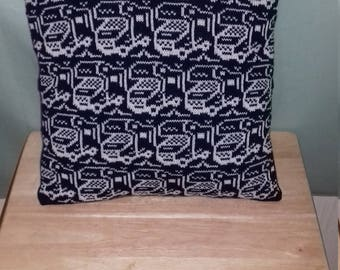 Handmade knitted motorhome cushion cover complete with infill