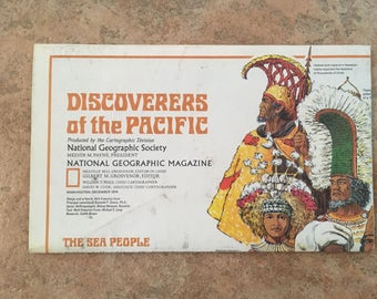 Vintage Map • National Geographic Discoveries of The Pacific & Islands of The Pacific • Double Sided Map (1974)