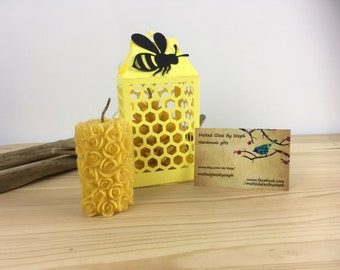 Eco candle-beeswax candle-gift for her-gift-easter gift-rose pillar candle-beeswax-rose candle-gift set
