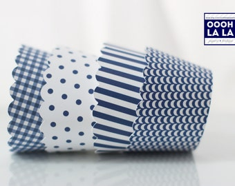 MADE TO ORDER Blue and White Cupcake Wrappers- Set of 12