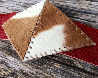 "Red Leather Cuff Bracelet with Hand Stitched Hair On Brown and White Calfskin Size Medium (7"" - 7.75"") by Stacy Leigh"