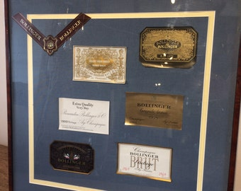 Limited edition Bollinger Champagne Vintage framed labels
