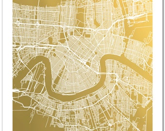 New Orleans Map, Gold Foil Map™, Gold Foil Print, Poster, Foil Art, New Orleans Print, NOLA, Gold Foil City Map, Prints, Gift for Traveler